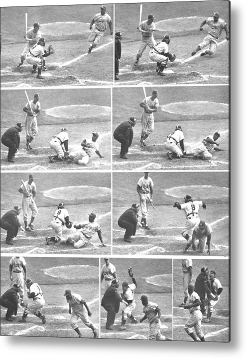 1950-1959 Metal Print featuring the photograph Jackie Robinson, With Two Out In The by New York Daily News Archive
