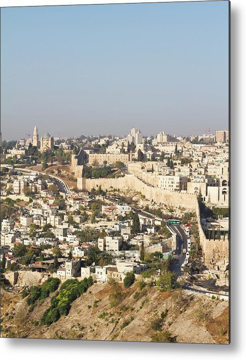 Built Structure Metal Print featuring the photograph Jerusalem City Wall From A Distance by Raquel Lonas