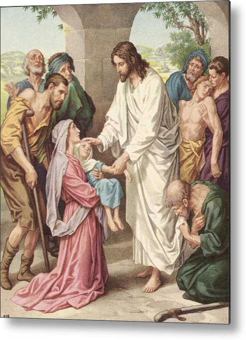 Engraving Metal Print featuring the photograph Jesus Healing The Sick by Kean Collection
