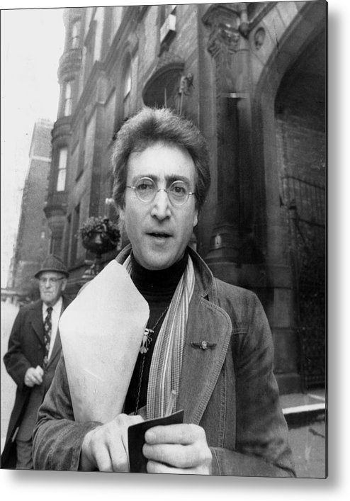 Apartment Metal Print featuring the photograph John Lennon Returning From Florist Shop by New York Daily News Archive