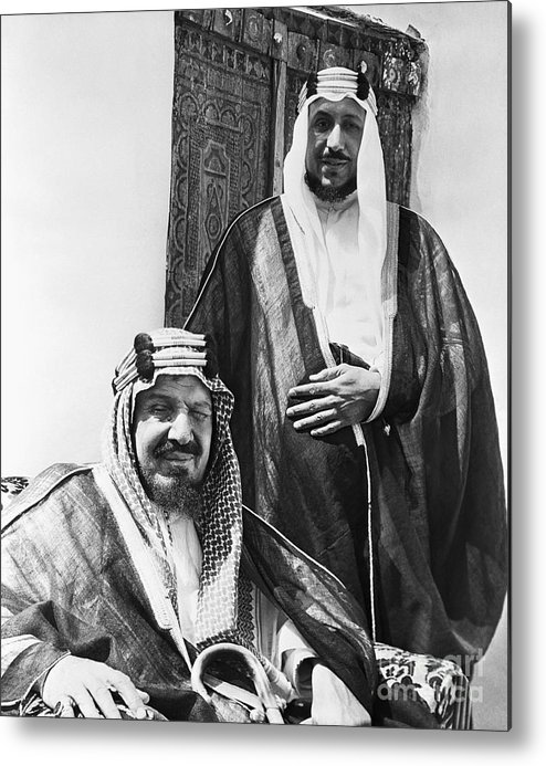 Mature Adult Metal Print featuring the photograph King Ibn Saud And Son Saud Aziz by Bettmann