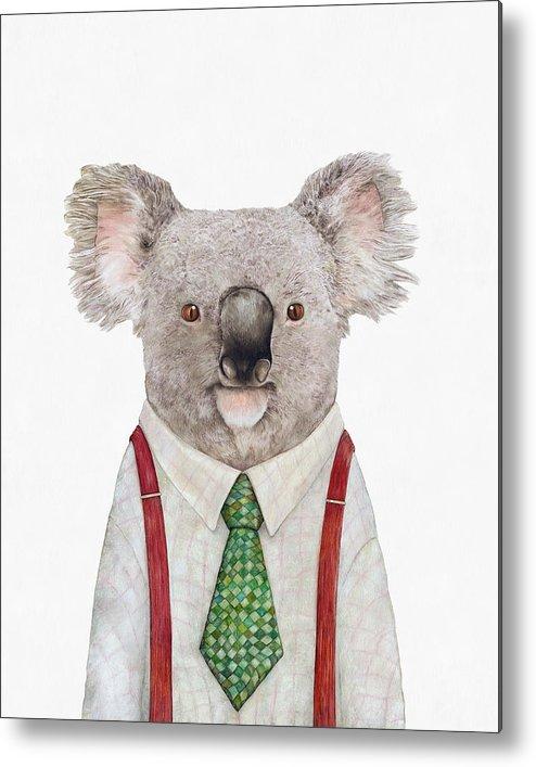 Koala Metal Print featuring the painting Koala by Animal Crew