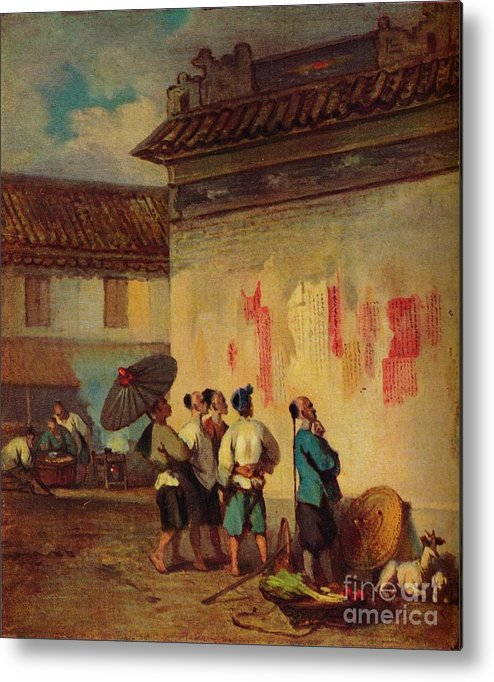 Macao Metal Print featuring the drawing Labourer Reading A Proclamation, Macao by Print Collector