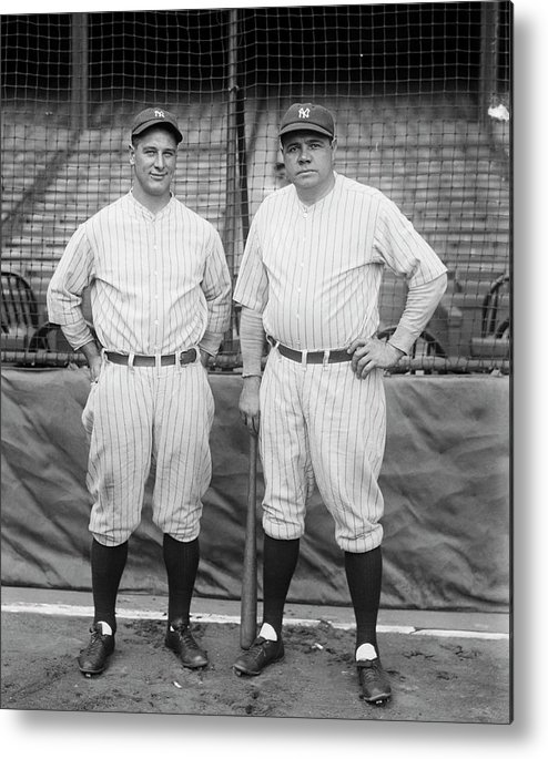 People Metal Print featuring the photograph Lou Gehrig And Babe Ruth by Bettmann