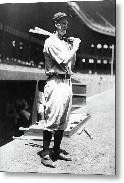 People Metal Print featuring the photograph Lou Gehrig Before The Game by Transcendental Graphics