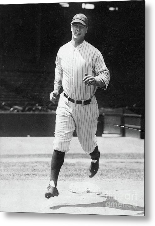 People Metal Print featuring the photograph Lou Gehrig Working Out by Transcendental Graphics