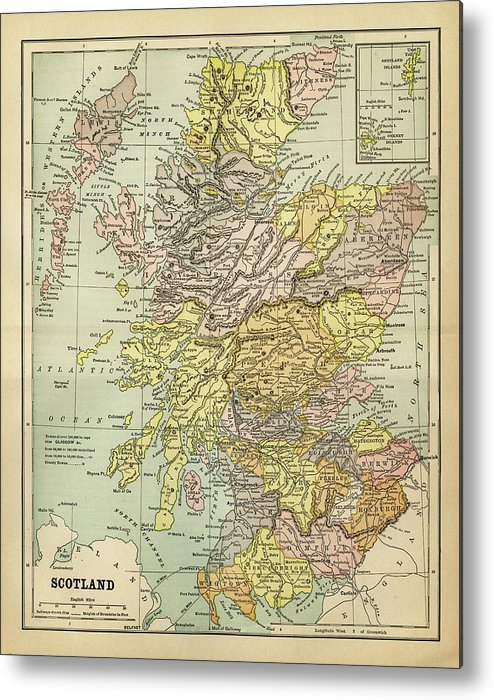 Vertical Metal Print featuring the digital art Map Of Scotland 1883 by Thepalmer