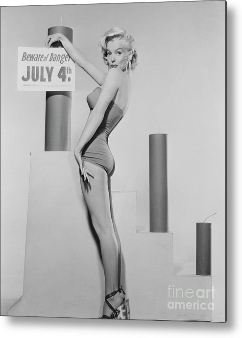 Firework Display Metal Print featuring the photograph Marilyn Monroe Advertising Safety by Bettmann