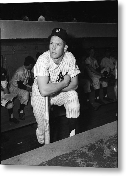 American League Baseball Metal Print featuring the photograph Mickey Mantle In Yankee Dugout by Frederic Lewis