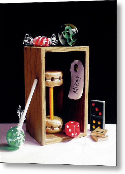 Small Wooden Box Metal Print featuring the pastel Mikey's Box by Dianna Ponting