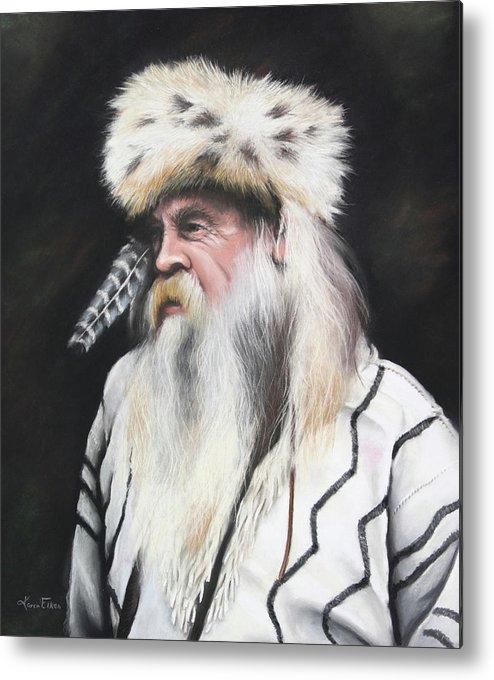 Mountain Man Metal Print featuring the pastel Mountain Man by Karen Elkan