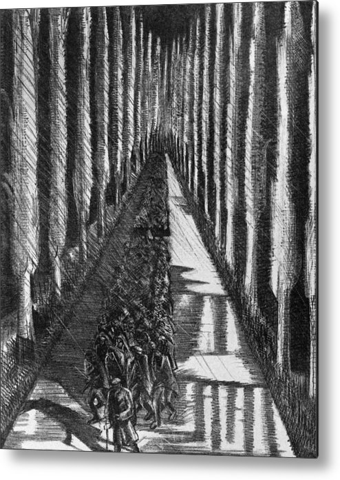 B1019 Metal Print featuring the drawing Men Marching At Night, 1918 by Paul Nash