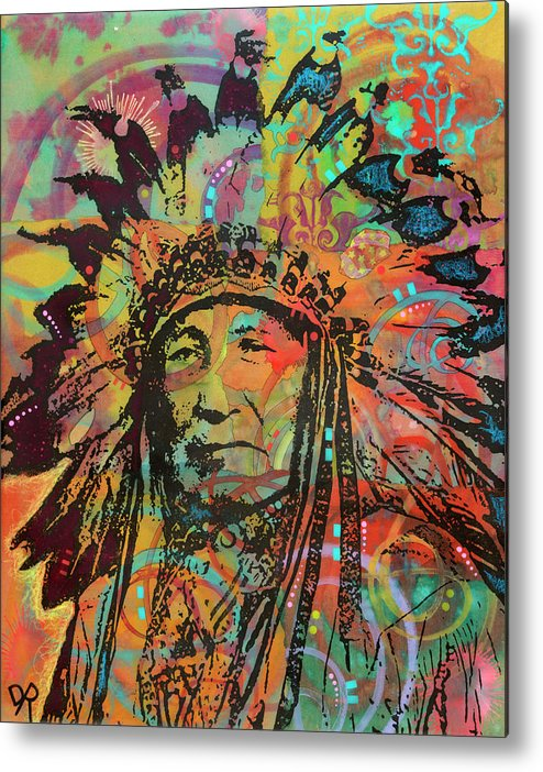 Native American V Metal Print featuring the mixed media Native American V by Dean Russo