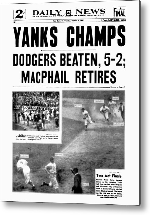 American League Baseball Metal Print featuring the photograph New York Daily News Front Page October by New York Daily News Archive