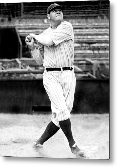 People Metal Print featuring the photograph New York Yankees Babe Ruth Swinging His by New York Daily News Archive