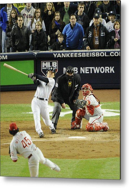 American League Baseball Metal Print featuring the photograph New York Yankees Hideki Matsui Hits by New York Daily News Archive