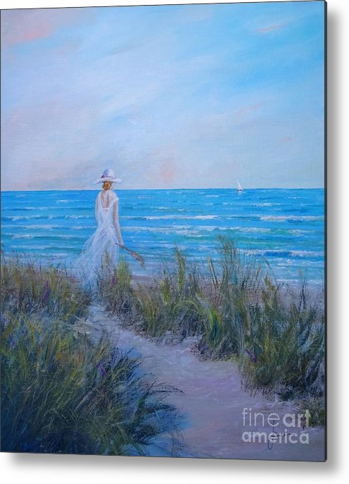 Coast Metal Print featuring the painting Ocean Breeze by Sinisa Saratlic