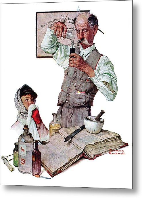 Boy Metal Print featuring the drawing Pharmacist by Norman Rockwell