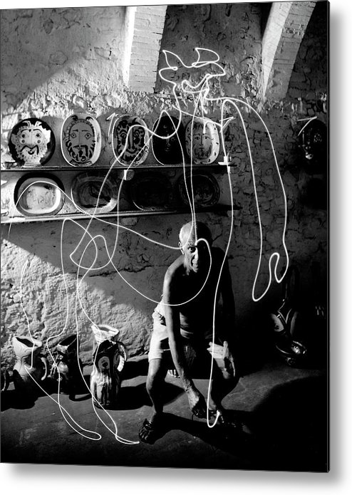 Pablo Picasso Metal Print featuring the photograph Picasso Drawing With Light by Gjon Mili