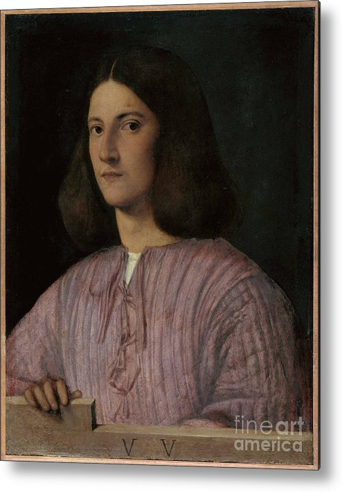 Oil Painting Metal Print featuring the drawing Portrait Of A Young Man Giustiniani by Heritage Images