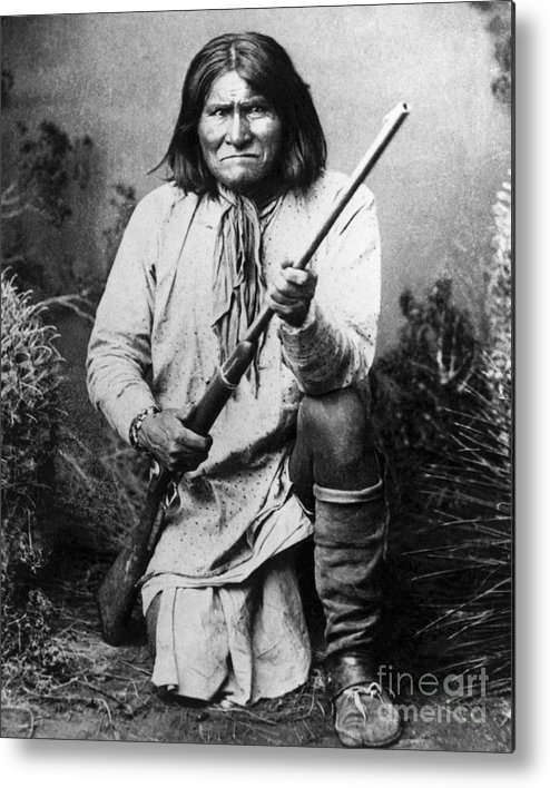 Rifle Metal Print featuring the photograph Portrait Of Apache Chief Geronimo by Bettmann