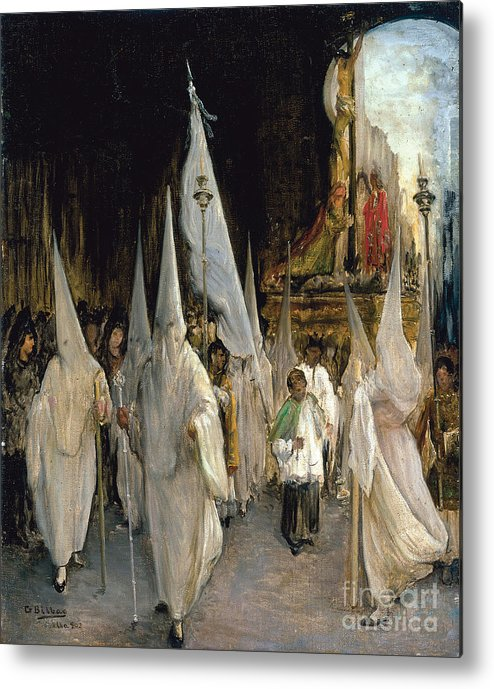 Oil Painting Metal Print featuring the drawing Procession Of The Seven Words. Artist by Heritage Images