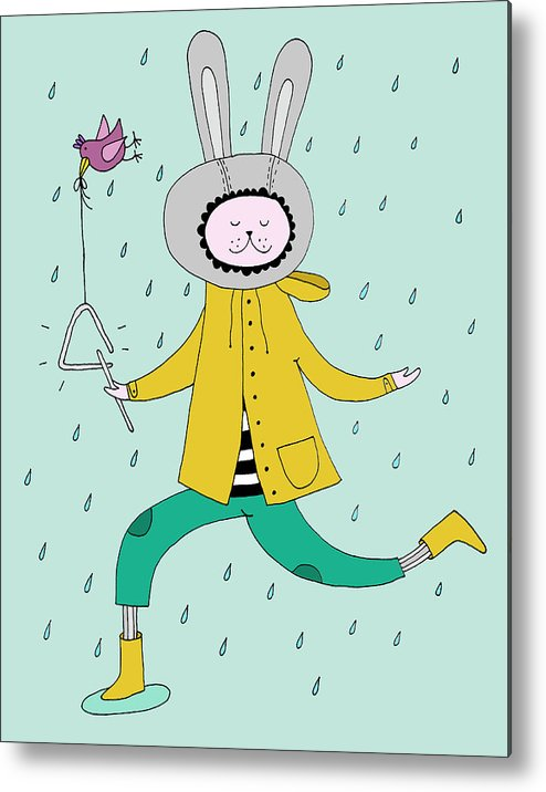 Animal Themes Metal Print featuring the digital art Rabbit In Rain by Kristina Timmer
