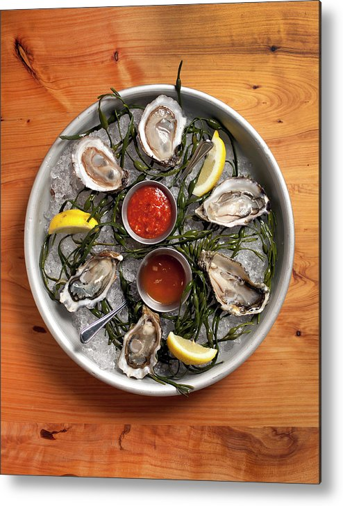 Oyster Metal Print featuring the photograph Raw Oyster Platter by Lara Hata