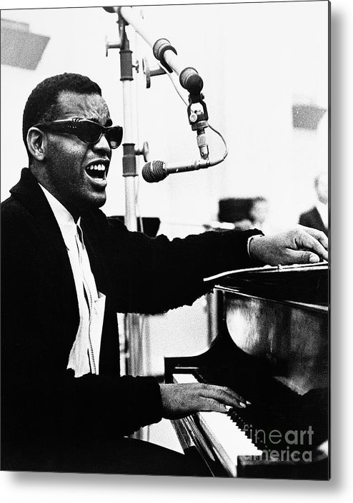 Singer Metal Print featuring the photograph Ray Charles Singing At The Piano by Bettmann