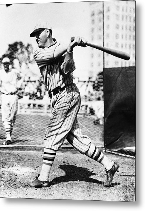 People Metal Print featuring the photograph Rogers Hornsby In Batting Cage by Bettmann