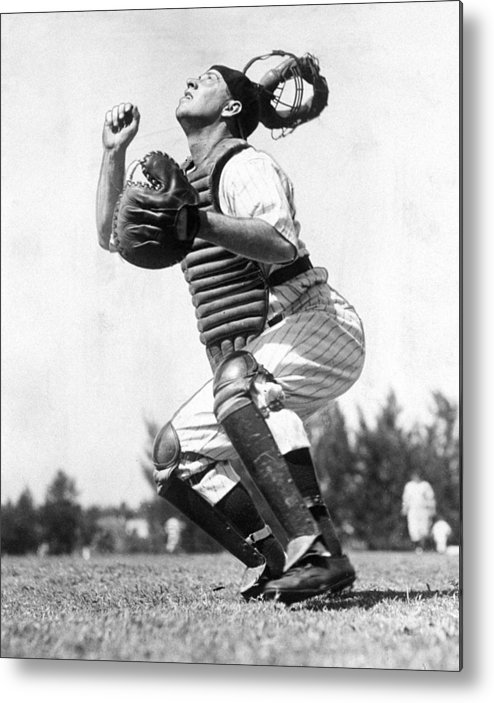 Working Metal Print featuring the photograph Rookie Catcher Warren Buddy Rosar Works by New York Daily News Archive