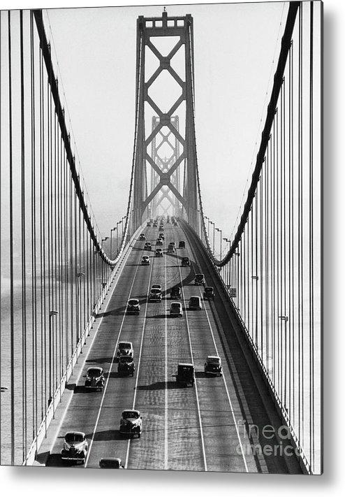 Civil Engineering Metal Print featuring the photograph San Francisco-oakland Bay Bridge by Bettmann