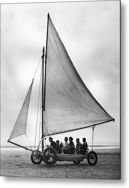 Skegness Metal Print featuring the photograph Sand Yachting by Fox Photos