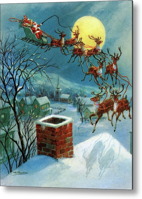 People Metal Print featuring the photograph Santa Claus And His Sleigh by Graphicaartis