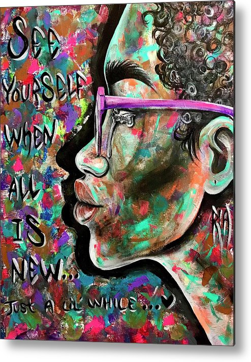 Depressed Metal Print featuring the painting See yourself when all is new by Artist RiA