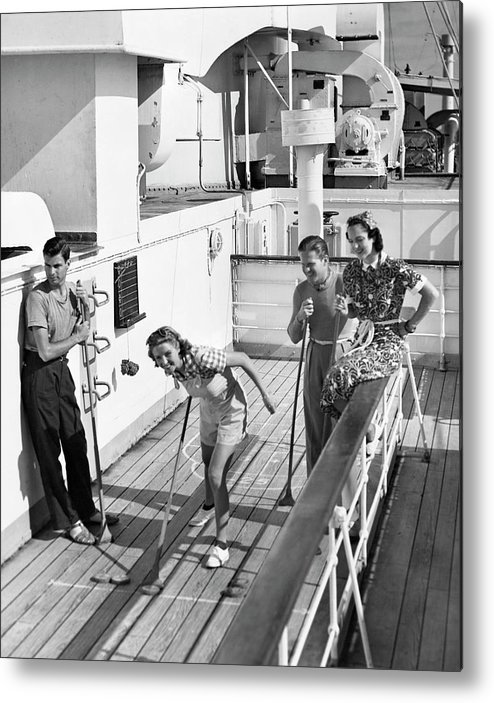 Heterosexual Couple Metal Print featuring the photograph Shuffleboard Players by George Marks