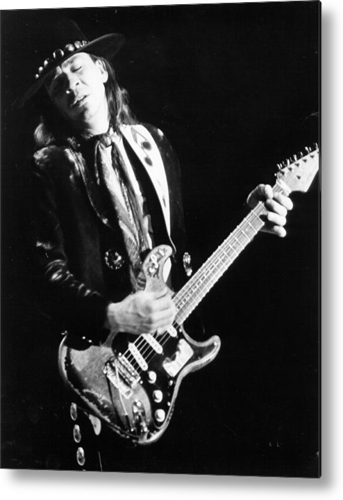 1980-1989 Metal Print featuring the photograph Srv Performing In Davis by Larry Hulst