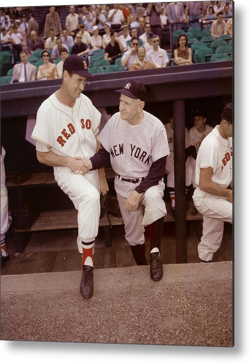 1950-1959 Metal Print featuring the photograph Ted Williams & Casey Stengel by Hulton Archive
