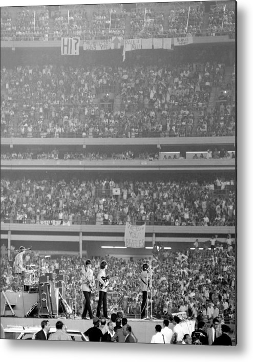 Crowd Metal Print featuring the photograph The Beatles At Shea Stadium, Our Mets by New York Daily News Archive