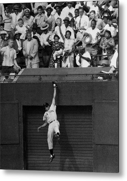 1950-1959 Metal Print featuring the photograph The Giants Amazing Willie Mays Amazes by New York Daily News Archive
