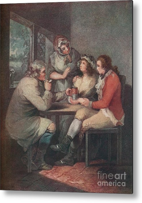 Engraving Metal Print featuring the drawing The Soldiers Return, C18th Century 1909 by Print Collector