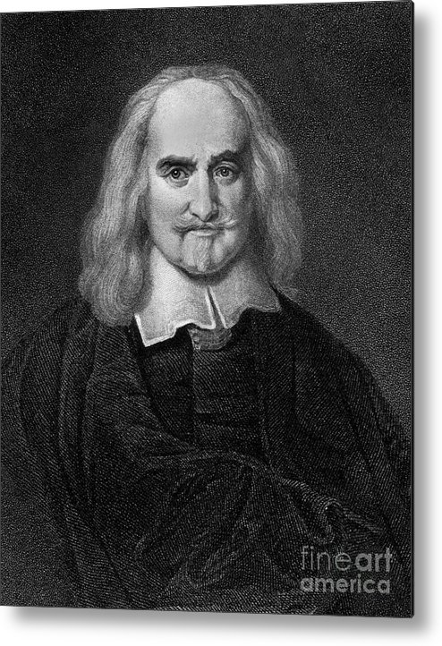 Historical Metal Print featuring the drawing Thomas Hobbes English Philosopher, Engraving by European School