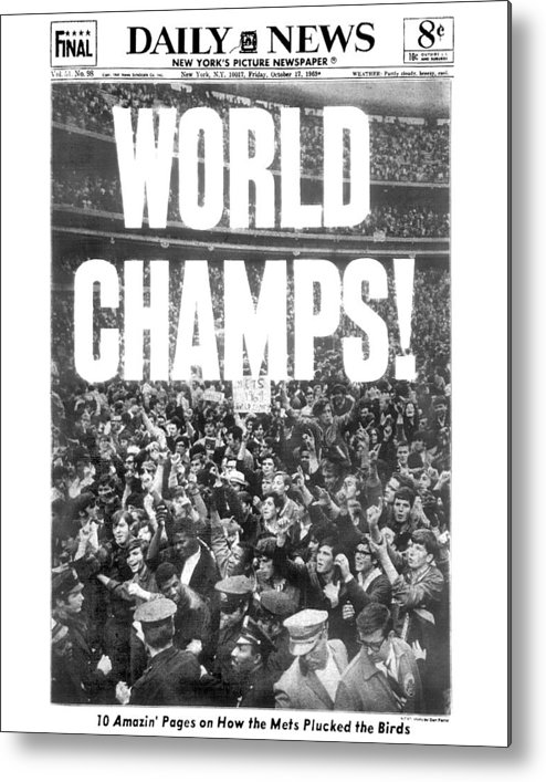 American League Baseball Metal Print featuring the photograph Ticker Tape Cascading On Lower Broadway by New York Daily News Archive
