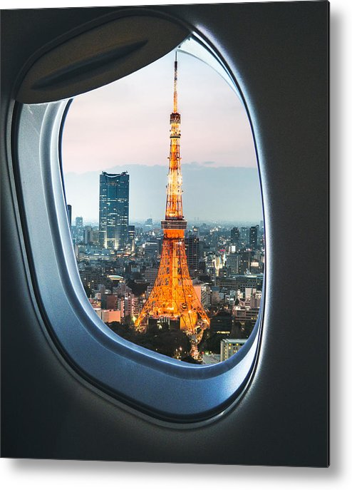 Tokyo Tower Metal Print featuring the photograph Tokyo Skyline With The Tokyo Tower by Franckreporter