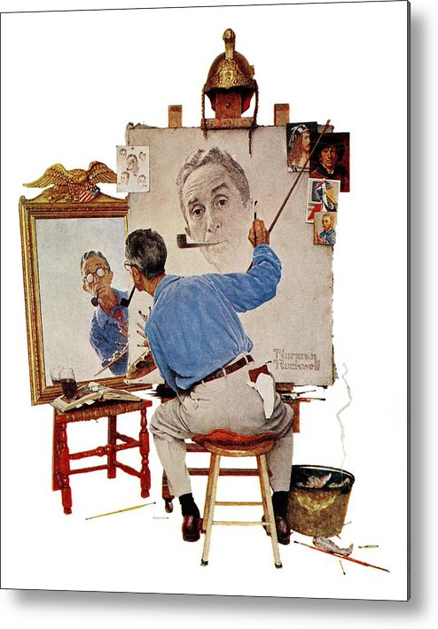 Artists Metal Print featuring the drawing Triple Self-portrait by Norman Rockwell
