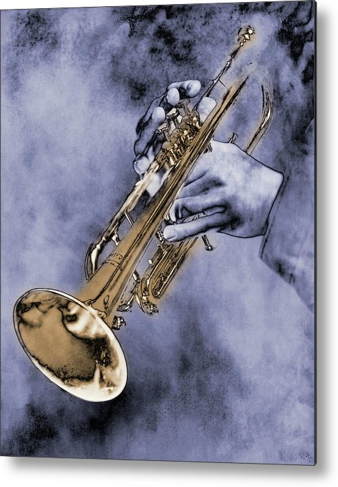 One Man Only Metal Print featuring the digital art Trumpet Player by Nick White