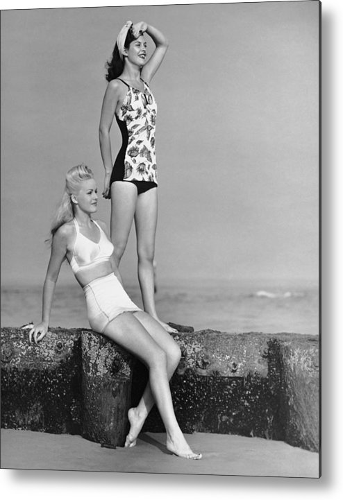 People Metal Print featuring the photograph Two Women In Bathing Suits by George Marks