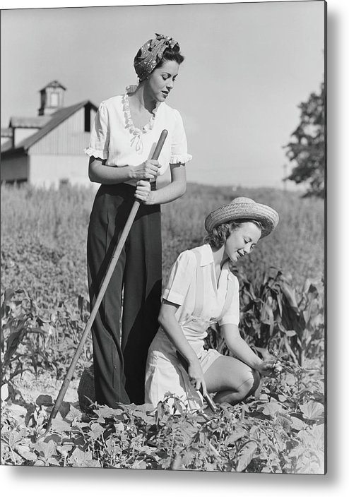 Straw Hat Metal Print featuring the photograph Two Women Working On Field, B&w by George Marks