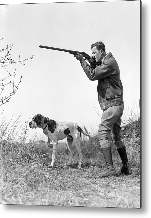 People Metal Print featuring the photograph Upland Bird Hunter With Pointer Dog by H. Armstrong Roberts