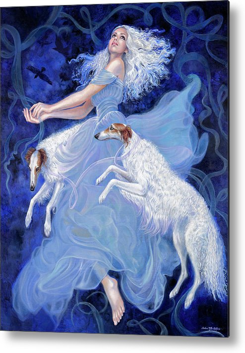 Borzoi Metal Print featuring the painting Vapor by Barbara Tyler Ahlfield